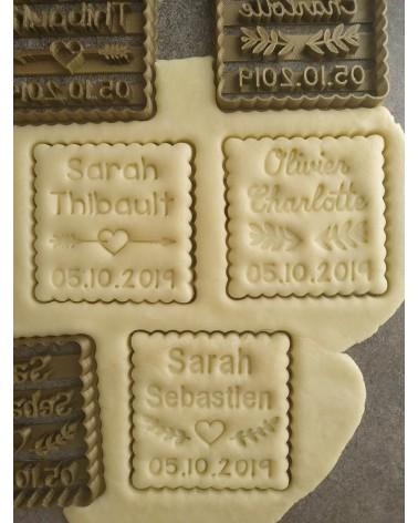 Biscuit sablé petit beurre avec motifs de mariage personnalisé avec des prénoms