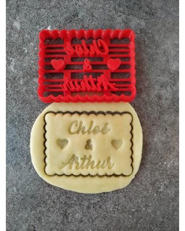 Biscuit sablé petit beurre avec coeurs personnalisé avec deux prénoms