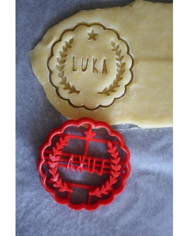 Biscuit sablé cannelé avec lauriers personnalisé avec un prénom